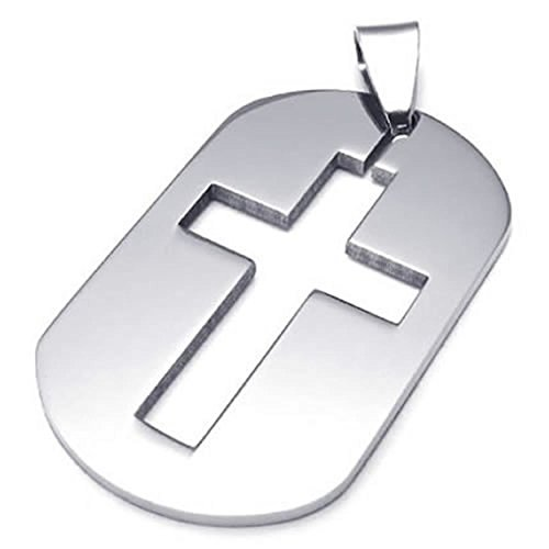 ANAZOZ Stainless Steel Silver Mens Womens Pendant Necklace Dog Tag Cross 18-26