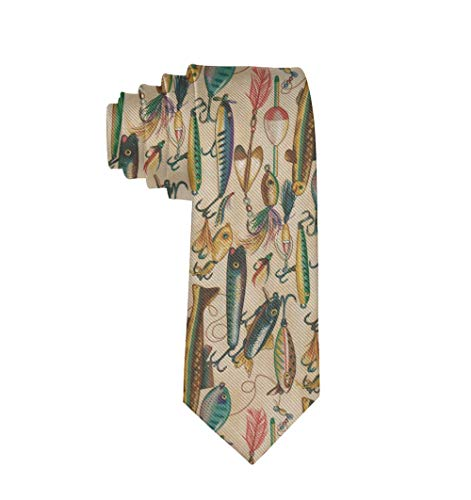 Men Date Gifts Novelty Polyester Textile Necktie Silkly Smooth Soft Fishing Lure Style Neck Ties Great For Weddings Party Groom Groomsmen Dances ()