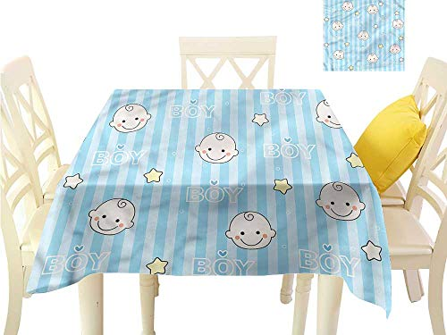 Decorative Textured Fabric Tablecloth Baby Shower Theme Its a Boy Waterproof/Oil-Proof/Spill-Proof Tabletop Protector W50 x L50