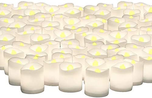 Banberry Designs LED Lighted Flickering Votive Style Flameless Candles – Banberry Designs – Set of 192 – Wedding Decorations – Faux Candles – Flameless Candle Set Centerpieces