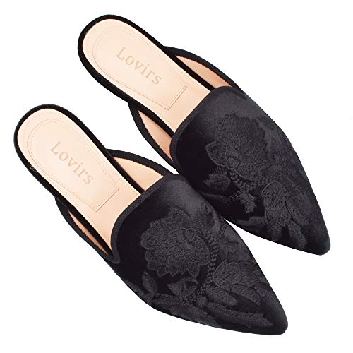 Flats Lovirs Loafers Embroidery Black Women's Mule Shoes On Backless Slippers Velvet Slip 4fwqY4
