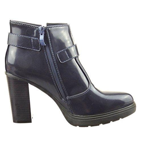 Sopily - Zapatillas de Moda Botines Tobillo mujer brillantes multi-correa Talón Tacón ancho alto 9 CM - Azul