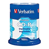 Verbatim(R) CD-R Printable Disc Spindle, White, Pack Of 100