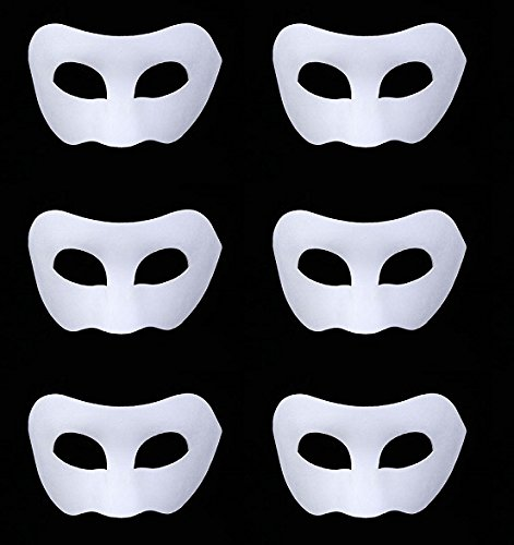 6 Packs Halloween Mask Half face Unpainted Masks Masquerade Knight Prince Mask Cosplay Party