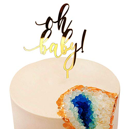 Acrylic Glod glitter letters Oh Baby Cake Toppers | Wedding Engagement Anniversary Baby Shower Birthday Party Decorations (Acrylic Letter Dishes)