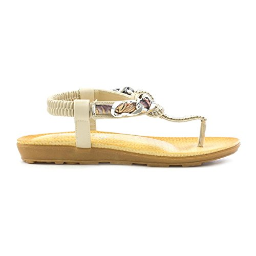 Lilley Womens Beige Toe Post Sandal with Chain Beige oQIBdZ9e7M