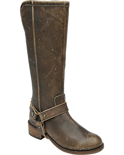 Corral Urban Womens Tall Harness Round Toe Distressed Brown Leather Boots FXrId6E2lU