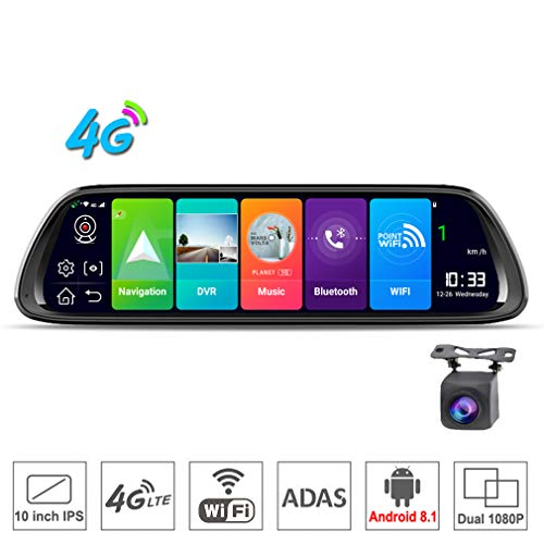 ShiZhen D30 10 inch Full Screen 4G Touch IPS Universal Bundled Car Dash Cam Rear View Reversing Mirror with GPS Navi Bluetooth Music WiFi Android 8.1 Dual Lens FHD 1080P