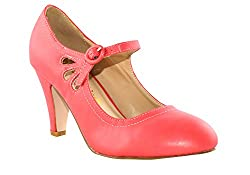 Chase and Chloe Kimmy-21 Mary Jane Teardrop Cutout T-Strap Pump Heel-Coral-7.5