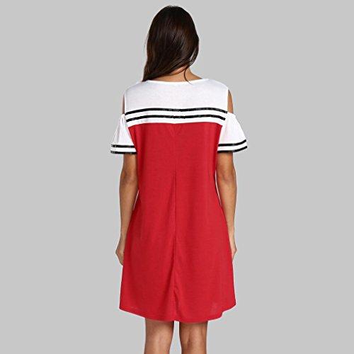 Largos Rojo Fiesta Vestidos Mujer Largos Mujer Vestidos Hombro Mujer Grandes De Elegantes Sin Vestidos Mujer Tallas Fiesta Vestidos FAMILIZO Verano Manga Corta Rayas Vestidos De Mujer E4d0wqE