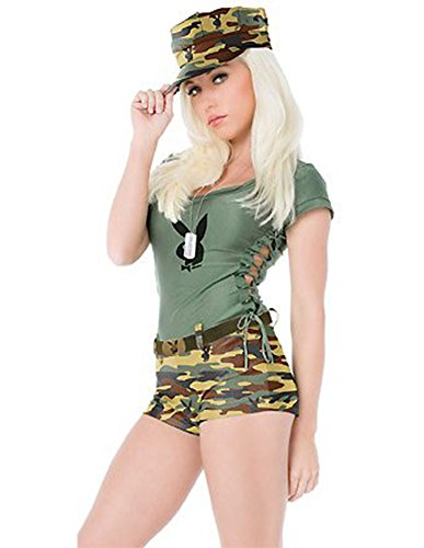 Green Playboy Bunny Costumes (4 Pc. PLAYBOY Bootcamp Babe Halloween Costume)