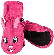 kids Snow Ski Gloves,Children's Rose Cute Rabbit Warm Waterproof Mittens for 4-6 Years Girls ,Gloves for S