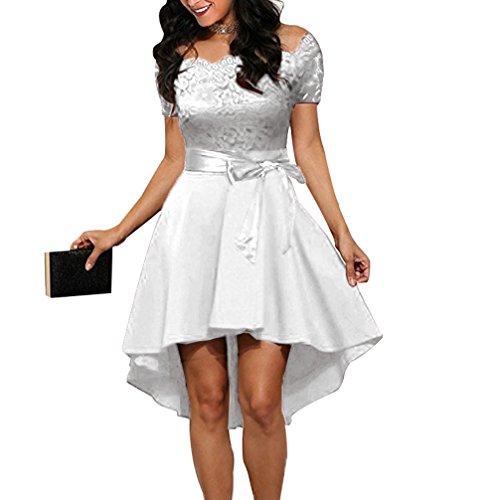 con para Vestido V Cocktail Cuello Blanco Mangas FANTIGO Mujer Dress de en sin Noche 5qwwTYvC