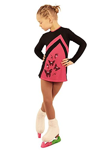 IceDress Figure Skating Dress - Thermal - Velvet (Black with Raspberry) (CM) by IceDress