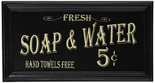 Vintage Soap & Water Kitchen Bath Sign Distressed Black Wood Old-Fashioned Script Country Primitive Décor