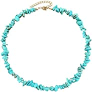 7th Moon Puka Shell Necklace Hawaiian White Turquoise Bead Choker Beach Necklace for Women Girls