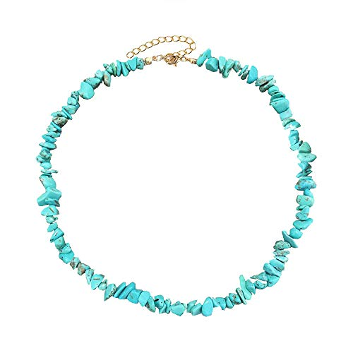 7th Moon Puka Shell Necklace Hawaiian White Turquoise Bead Choker Beach Necklace for Women Girls (Turquoise)