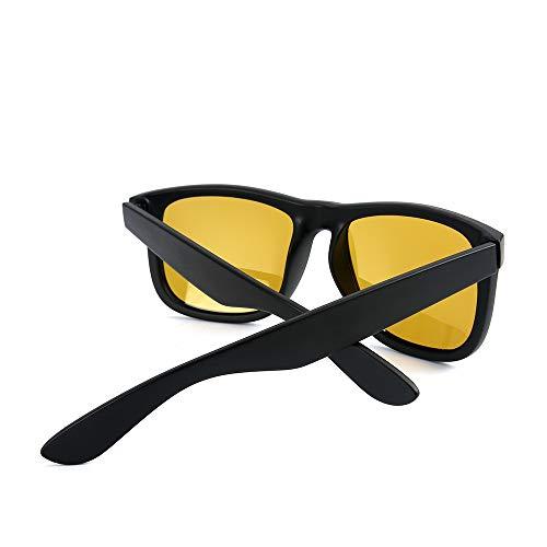 Soleil Black pour Black Color Frame de Yellow Matte Sakuldes Matte Yellow Lens polarisées Frame Lens Hommes Lunettes IO8xqwE