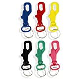 6pc Plastic Spring Snap Hook Key Ring Color-Coded