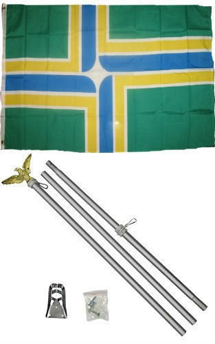 ALBATROS 3 ft x 5 ft City of Portland Oregon Flag Aluminum with Pole Kit Set for Home and Parades, Official Party, All Weather Indoors Outdoors
