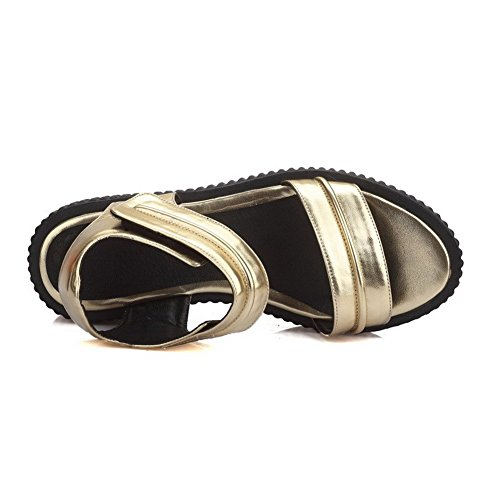 AllhqFashion Mujeres Sólido Pu Plataforma Puntera Abierta Velcro Sandalia Gold