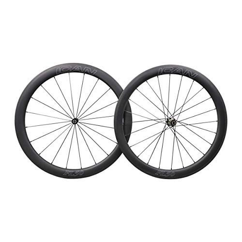 ICAN FL50 Carbon Road Bicycle Wheelset Clincher Tubeless Ready Rim Novatec AS511SB/FS522SB Hub Sapim CX Ray Spokes Only 1470g (Fast & Light Series) ()