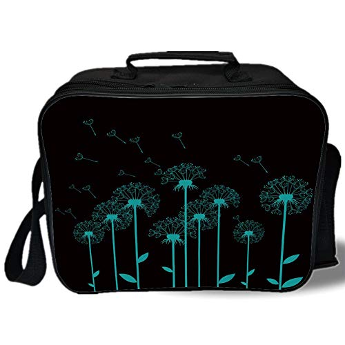 - Insulated Lunch Bag,Flower,Fluffy Dandelion Blossom Flyaway Petals Delicate Spring Meadow Growth Botany Decorative,Aqua Charcoal Grey,for Work/School/Picnic, Grey