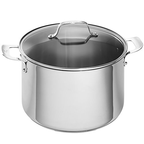 Emeril Lagasse Stainless Steel Stock Pot With Lid, 12-Quart, Induction Compatible, Dishwasher Safe, Silver