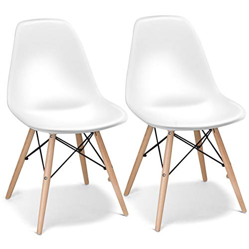 Giantex Set of 2 Mid Century Armless Modern Style Plastic Seat Wood Dowel Legs for Bedroom Accent Living Room DSW Chair, White