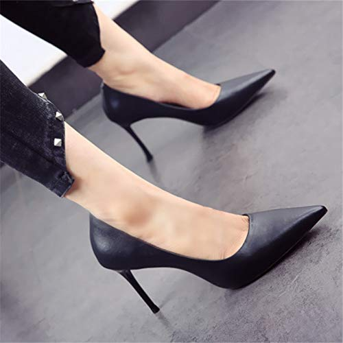 color European shoes banquet wedding solid creamy stiletto work spring autumn mouth high shoes shallow single and party YMFIE ladies white pointed fashion heels OUT0dwOSq