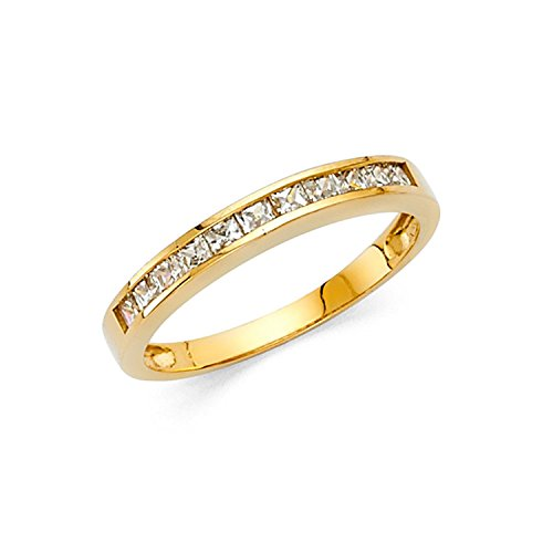 4K Yellow Gold Princess Cut Channel Invisible Set Wedding Band Ring (0.75 cttw.) ()