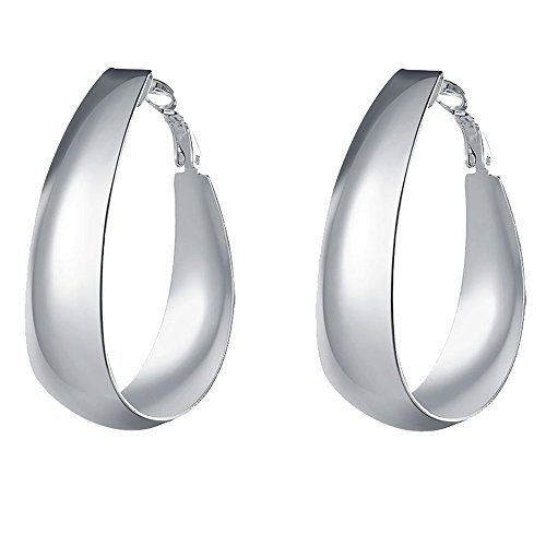 Modern Costume Ariel Day (SDLM Popular Wide Polished Click-Top Hoop Earrings for Womens/Girls,Silver)