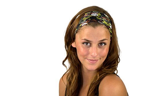 Green Camo Skulls Crossbones Soft Camouflage Headband Headwrap Hair Accessory Headwrap Green Camo