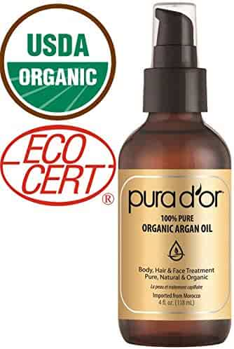 Pura D'Or Organic Moroccan Argan Oil (4oz) Usda Certified 100% Pure Cold Press Virgin Premium Grade Moisturizer Treatment for Dry & Damaged Skin, Hair, Face, Body, Scalp & Nails (Packaging May Vary)
