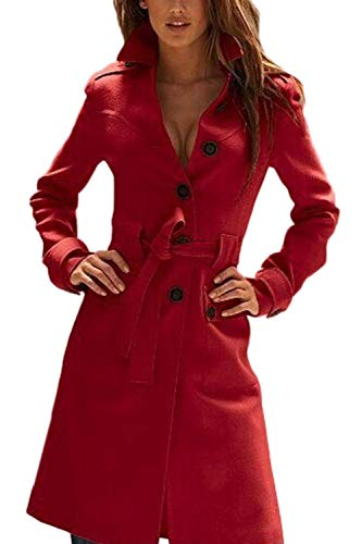 Invierno Abrigos con Solo Elegantes Mujer Cinturón Slim Un Lana Rojo Outerwear Modernas Otoño Pecho Solapa Fit Termica Manga Chaqueta Parkas Largos Larga De Abrigo qtSwrt1