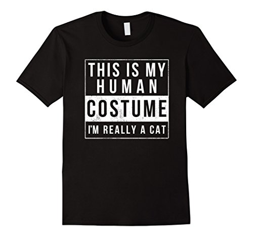 Mens I'm Really A Cat Costume Halloween Shirt Funny Gift XL Black