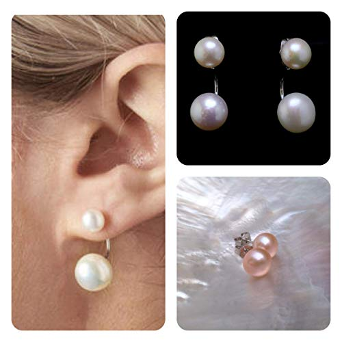 Large Double Pearl Earrings Set, Interchangeable White & Pink Freshwater Pearl Earrings