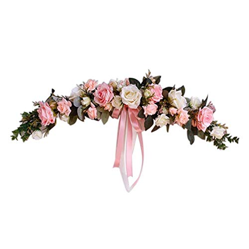 Classic Artificial Rose Flower Swag,24 Inch Decorative Floral Swag with Blue White Purple Pink Peonies,Green Leaves and Silk Ribbon for Wedding Arch Front Door Wall Garden Lintel Decor