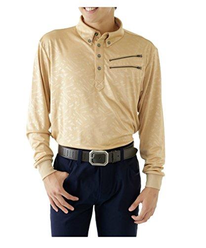 (オプスト) OPST メンズ ゴルフウェア 長袖 エンボススムース長袖ボタンダウン ポロシャツ OP220202F03 GD O