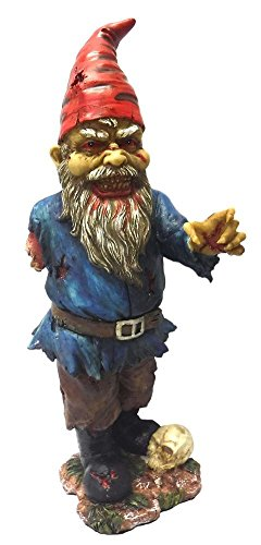 11.75 Inch Scary Zombie Garden Gnome with One Arm and Skull Statue -