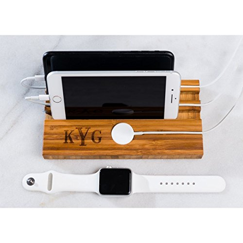 Apple Watch iWatch Men Gift Him Phone Stand Dock Dad Mom Boyfriend Personalized Man Charging Station Wood Techie iPhone Two Double Slot