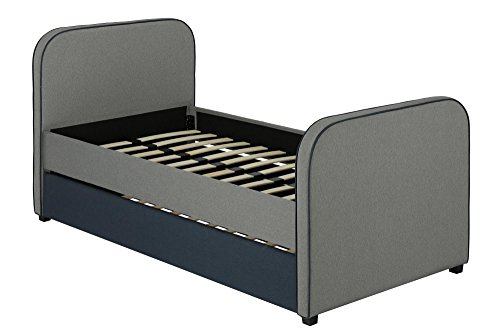DHP Jesse Kids Upholstered Bed Frame with Trundle and Wooden Slat Support, Twin Size - Grey Linen
