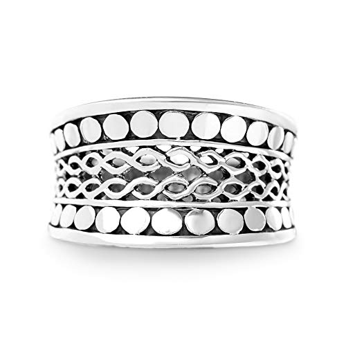 WILLOWBIRD Beaded Filigree Infinity Ring for Women in Oxidized 925 Sterling Silver (Size 8)