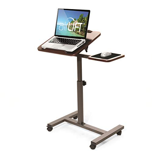(Seville Classics Tilting Sit-Stand Computer Desk Cart with Mouse Pad Table, Height-Adjustable from 27.5
