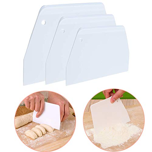 Luckycivia Dough & Bowl Scrapers Set of 3, Trapezoidal Plastic Scraper, Multipurpose Kitchen Scrapers, Food-safe Plastic Dough Cutter, Hard Plastic Cutters for Pizza Dough Pastry Cake (White) ()