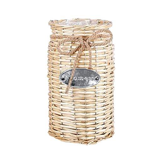 Websad_Christmas Wicker Woven Storage Basket Flower Plants Straw Pots Vase Bag Home Decor (Yellow) from Websa_ Home & Garden