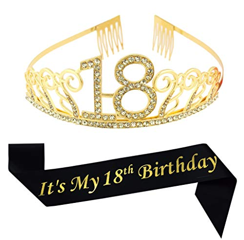 18th Birthday Gold Tiara and Sash Glitter Satin Sash and Crystal Rhinestone Tiara Crown for Happy 18th Birthday Party Supplies Favors Decorations Birthday Cake -