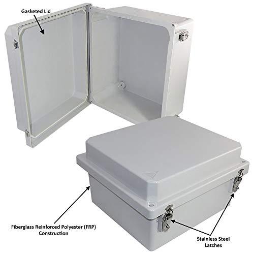 Altelix 14x12x8 FRP Fiberglass NEMA 4X Box Weatherproof Enclosure with Hinged Lid & Stainless Steel Latches by Altelix (Image #1)
