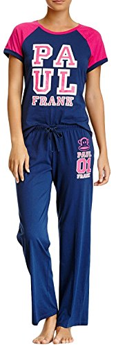 Paul Frank Juniors Raglan T-shirt & Pants Campus Pajama Set (Navy, - Shop Frank Paul