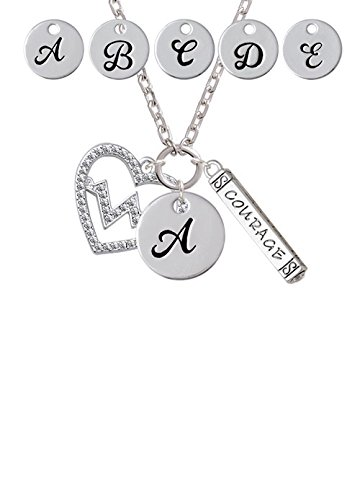 Large Clear Crystal Heart with Heartbeat Custom Initial Courage Strength Zoe Necklace